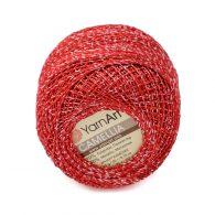 Kordonek z nitką brokatową yarn art camellia w kolorze 416 czerwonym