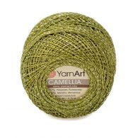 Kordonek z nitką brokatową yarn art camellia w kolorze 420 zielonym