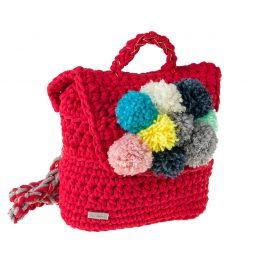 Ręcznie robiony plecak ze sznurka bawełnianego z pomponem