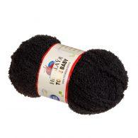 Himalaya Toffe Baby 78121 Pluszowa włóczka w kolorze czarnym.Idealna na zabawki, poduszki, kocyki dla dzieci.