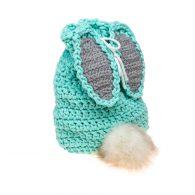 Plecak worek królik wykonany ręcznie ze sznurka bawełnianego