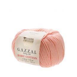 Delikatna włóczka Gazzal Baby Cotton 3412 gładko skręcona z kilku nitek