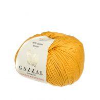 Gazzal Baby Cotton 3447 delikatna mieszanka akrylu z bawełną w kolorze miodowym