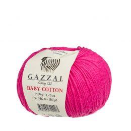 gazzal baby cotton 3415 włóczka w kolorze fuksji idealna do zabawek amigurumi