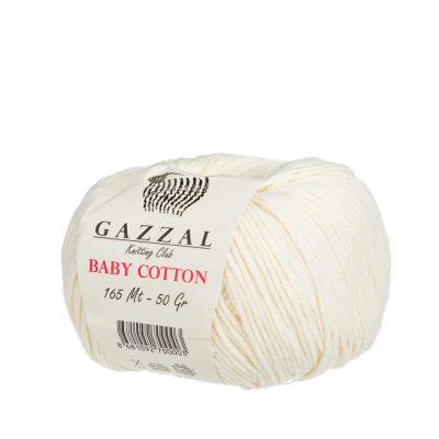 gazzal baby cotton 3437 delikatna włóczka do amigurumi w kolorze ecru