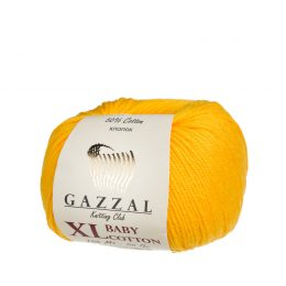 gazzal baby cotton xl 3417 włóczka do amigurumi w kolorze kanarkowym