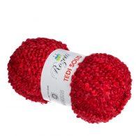 rozetti tedi solid 235-04 włoczka w kolorze czerwonym idealna do robienia włosów dla lalek