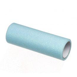 tiul na rolce glitter z brokatem w kolorze błękitnym