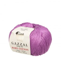 Gazzal Baby Cotton 3414 wrzosowy, włóczka do amigurumi