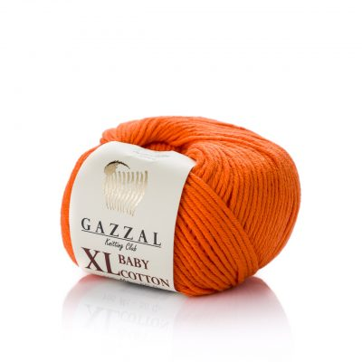 Gazzal Baby Cotton XL 3419 pomarańzowy. Bawełniano-akrylowa włóczka w kolorze beżowym. Idealny wybór do amigurumi. Powiększona wersja.