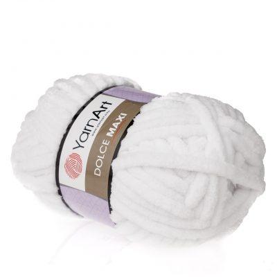 yarn art dolce maxi 741 gruba pluszowa włóczka w kolorze białym. Większa siostra sławnej Dolphin Baby, idealna na zabawki lub koce
