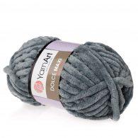 yarn art dolce maxi 760 gruba pluszowa włóczka w kolorze grafitowym. Większa siostra sławnej Dolphin Baby, idealna na zabawki lub koce