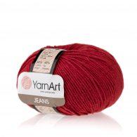 Włóczka Yarn Art Jeans 51 w kolorze czereśniowym to kultowa propozycja największego tureckiego producenta. Jej skład to mieszanka bawełny z akrylem.