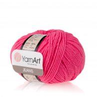 Włóczka Yarn Art Jeans 59 w kolorze różowym neonowym to kultowa propozycja największego tureckiego producenta. Jej skład to mieszanka bawełny z akrylem.