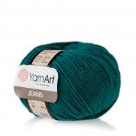 Włóczka Yarn Art Jeans 63 w kolorze morskim to kultowa propozycja największego tureckiego producenta. Jej skład to mieszanka bawełny z akrylem.