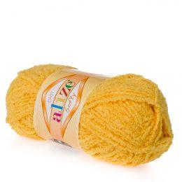 Alize Softy 216 słoneczny mięciutka włochata włóczka idealna na maskotki, szale, poduchy i koce. Struktura trawki daje piękny fantazyjny efekt.