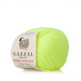 Gazzal Baby Cotton 3462 żółty neon to bawełniano-akrylowa włóczka występująca w wielu pięknych kolorach, idealna do amigurumi.