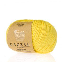 Gazzal Organic Baby Cotton 420 w kolorze cytrynowym. Włoczka z bawłeny