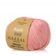 Gazzal Organic Baby Cotton 425 różany to włóczka z bawełny organicznej występująca w wielu pięknych kolorach, idealna dla dzieci.