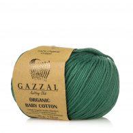Gazzal Organic Baby Cotton 427 butelkowy to włóczka z bawełny organicznej występująca w wielu pięknych kolorach, idealna dla dzieci.