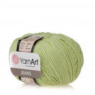 Włóczka Yarn Art Jeans 11 w kolorze pistacjowym to kultowa propozycja największego tureckiego producenta. Jej skład to mieszanka bawełny z akrylem.