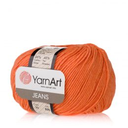 Włóczka Yarn Art Jeans 23 w kolorze mandarynkowym to kultowa propozycja największego tureckiego producenta. Jej skład to mieszanka bawełny z akrylem.