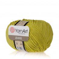 Włóczka Yarn Art Jeans 29 w kolorze groszkowym to kultowa propozycja największego tureckiego producenta. Jej skład to mieszanka bawełny z akrylem.