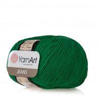 Włóczka Yarn Art Jeans 52 w kolorze choinkowym to kultowa propozycja największego tureckiego producenta. Jej skład to mieszanka bawełny z akrylem.