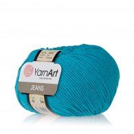 Włóczka Yarn Art Jeans 55 w kolorze lazurowym to kultowa propozycja największego tureckiego producenta. Jej skład to mieszanka bawełny z akrylem.