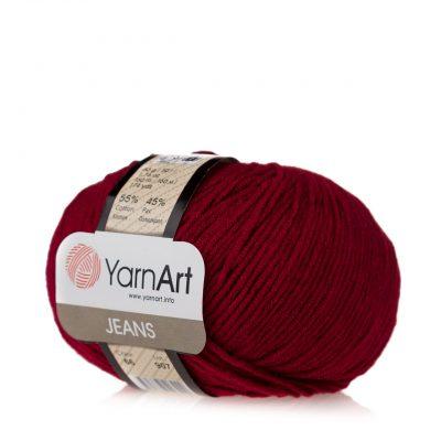Włóczka Yarn Art Jeans 66 w kolorze bordowym to kultowa propozycja największego tureckiego producenta. Jej skład to mieszanka bawełny z akrylem.