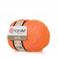 Włóczka Yarn Art Jeans 77 w kolorze pomarańczowym to kultowa propozycja największego tureckiego producenta. Jej skład to mieszanka bawełny z akrylem.