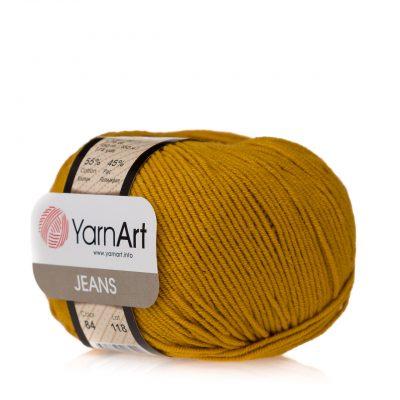 Yarn Art Jeans 84 to włóczka kolorze musztardowym stworzona do amigurumi