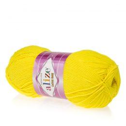 Alize Cotton Gold 110 cytrynowy. Bawełniano-akrylowa miękka włóczka o przyjemnym skręcie. Idealna na zabawki amigirumi i odzież wiosenno-letnią.