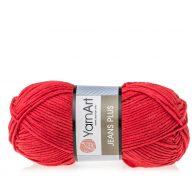 Yarn Art Jeans Plus 64 w kolorze czerwonym. Powiększona wersja Yarn Art Jeans. To świetny wybór przy tworzeniu zabawek czy poduch.
