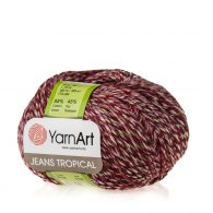 Yarn Art Jeans Tropical 619 to kolorowa propozycja największego tureckiego producenta. Jej skład to mieszanka bawełny z akrylem.