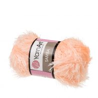 """yarn art samba 204 w kolorze brzoskwiniowym. Jest to włóczka typu """"trawka"""" w 100% wykonana z poliestru. Idelna na fantazyjne poduchy oraz pluszaki amigurumi."""