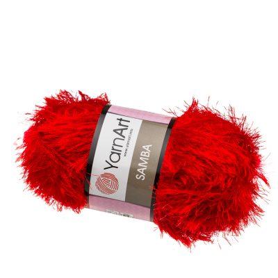 """yarn art samba 156 w kolorze czerwonym. Jest to włóczka typu """"trawka"""" w 100% wykonana z poliestru. Idelna na fantazyjne poduchy oraz pluszaki."""