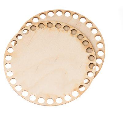 Baza do koszyka ze sznurka okrągła gładka. Zawiera dwie gładkie podstawy o średnicy 15cm