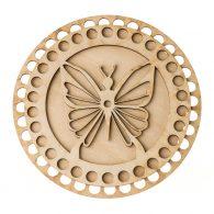 Baza do koszyka ze sznurka okrągła motylek. Zawiera gładką podstawę o średnicy 17cm oraz wzorzystą pokrywę o srednicy 15cm.