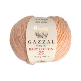 Gazzal Baby Cotton '25' 3412 łosoś to bawełniano-akrylowa włóczka występująca w wielu pięknych kolorach, idealna do amigurumi.