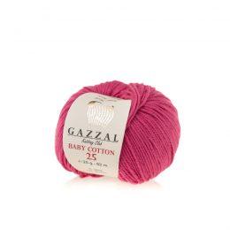 Gazzal Baby Cotton '25' 3415 fuksja to bawełniano-akrylowa włóczka występująca w wielu pięknych kolorach, idealna do amigurumi.