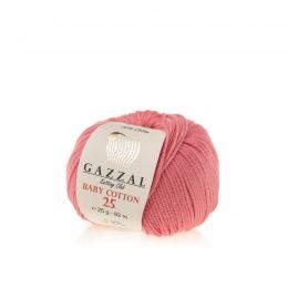 Gazzal Baby Cotton '25' 3435 koral to bawełniano-akrylowa włóczka występująca w wielu pięknych kolorach, idealna do amigurumi.