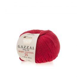 Gazzal Baby Cotton '25' 3439 czerwieńto bawełniano-akrylowa włóczka występująca w wielu pięknych kolorach, idealna do amigurumi.