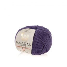 Gazzal Baby Cotton '25' 3440 fioletto bawełniano-akrylowa włóczka występująca w wielu pięknych kolorach, idealna do amigurumi.