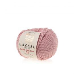 Gazzal Baby Cotton '25' 3444 pudrowy różto bawełniano-akrylowa włóczka występująca w wielu pięknych kolorach, idealna do amigurumi.