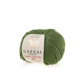 Gazzal Baby Cotton '25' 3449 leśny to bawełniano-akrylowa włóczka występująca w wielu pięknych kolorach, idealna do amigurumi.