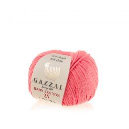 Gazzal Baby Cotton '25' 3460 słodki koral to bawełniano-akrylowa włóczka występująca w wielu pięknych kolorach, idealna do amigurumi.