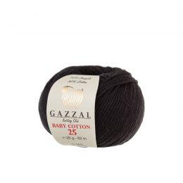 Gazzal Baby Cotton '25' 3433 czarnyto bawełniano-akrylowa włóczka występująca w wielu pięknych kolorach, idealna do amigurumi.