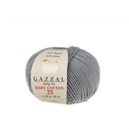 Gazzal Baby Cotton '25' 3430 szaryto bawełniano-akrylowa włóczka występująca w wielu pięknych kolorach, idealna do amigurumi.