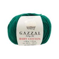 Gazzal Baby Cotton 3467 butelkowa zieleń to bawełniano-akrylowa włóczka
